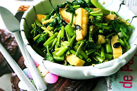 recipe Adobong Kangkong with fried tofu