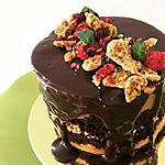 recipe Leftover cake with peanut butter frosting and chocolate ganache